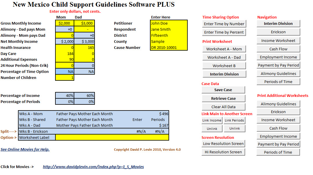 Printables Child Support Worksheet Calculator child support worksheet online related new mexico software