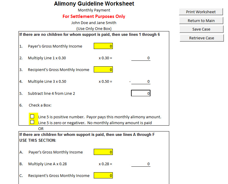 New Mexico Child Support Software – Child Support Worksheet Ny